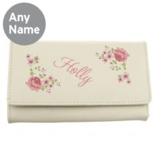 Floral Cream Leather Purse